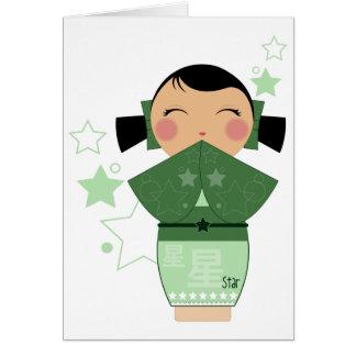 Cartões da estrela de Kokeshi