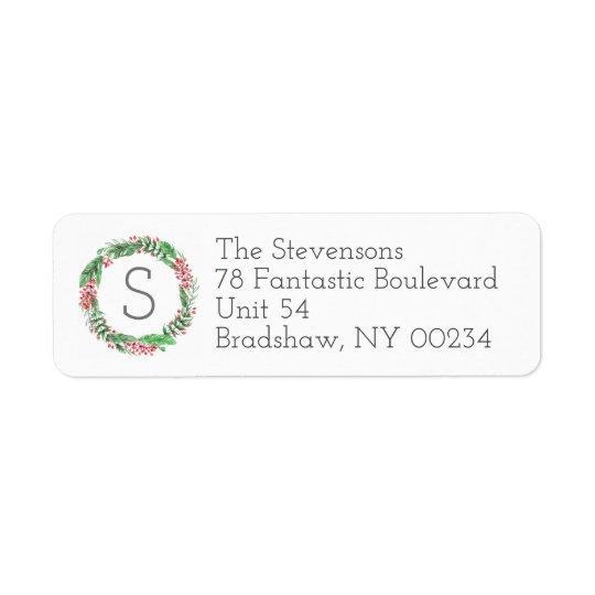 Cartões da família do monograma da grinalda do etiqueta endereço de retorno