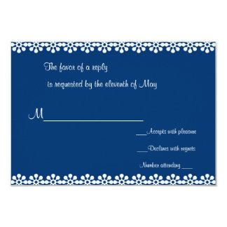 Cartões da flor azul e branca RSVP Convite 8.89 X 12.7cm