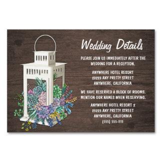 Cartões da inserção da recepção de casamento da