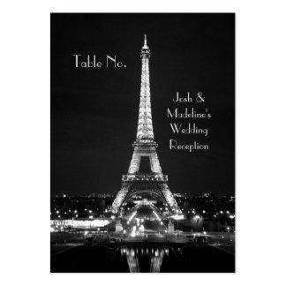 Cartões da mesa da recepção da torre Eiffel Cartões De Visita