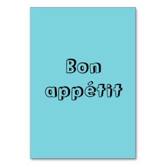 Cartões da mesa do appetit do Bon