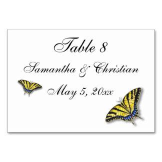 Cartões da mesa do casamento da borboleta de
