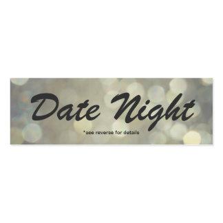 Cartões da noite da data cartão de visita skinny