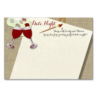 Cartões da noite da data do chá do vinho e da