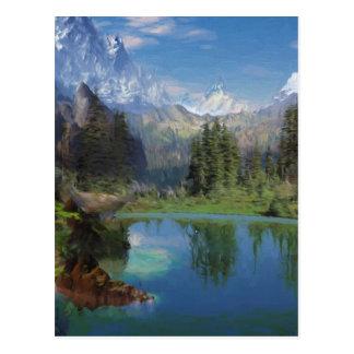 Cartões da pintura a óleo da montanha rochosa