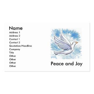 Cartões da pomba da paz e da alegria cartão de visita
