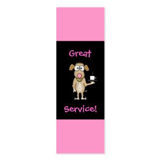 Cartões da ponta do servidor do restaurante cartão de visita skinny