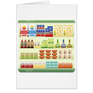 Cartões da prateleira dos bens do supermercado