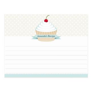 Cartões da receita do cupcake do fosco do branco