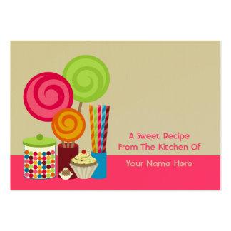 Cartões da receita dos doces & dos doces cartão de visita grande