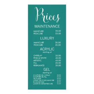 Cartões da tabela de preços do menu do salão de 10.16 x 22.86cm panfleto
