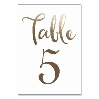 Cartões da tipografia do número da mesa do