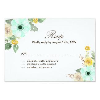 Cartões das flores RSVP da hortelã e do amarelo Convite 8.89 X 12.7cm
