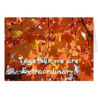 Cartões das folhas de outono junto nós somos