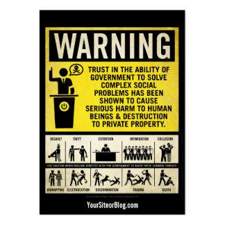 Cartões de advertência da promoção de Governmet Cartão De Visita Grande