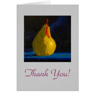 Cartões de agradecimentos amarelos da pera