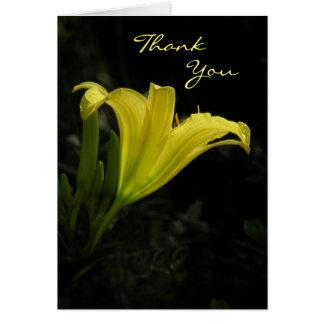 Cartões de agradecimentos amarelos do lírio de dia