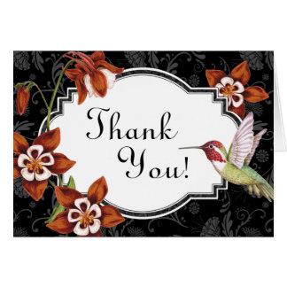 Cartões de agradecimentos aquilégias do colibri na