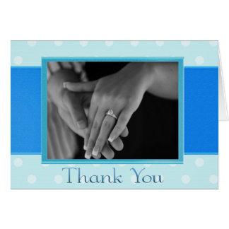 Cartões de agradecimentos azuis da foto