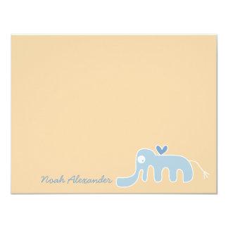 Cartões de agradecimentos azuis do bebé do convites personalizado