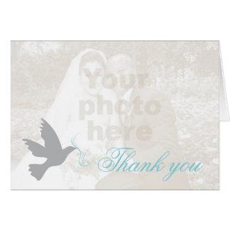 Cartões de agradecimentos azuis do casamento da fo