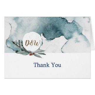Cartões de agradecimentos azuis do casamento do