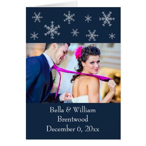 Cartões de agradecimentos azuis do casamento do en