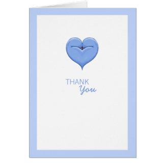 Cartões de agradecimentos azuis do chá de fraldas