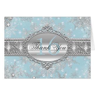 Cartões de agradecimentos azuis do doce 16 do país