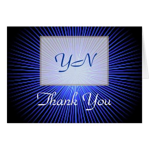 Cartões de agradecimentos azuis do monograma do cí