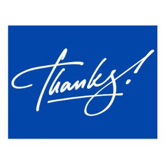 Cartões de agradecimentos azuis elétricos do cartao postal
