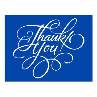 Cartões de agradecimentos azuis elétricos do cartão postal