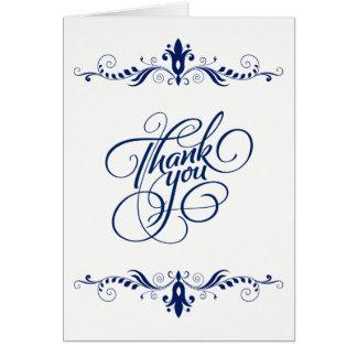 Cartões de agradecimentos azuis marinhos florais