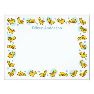 Cartões de agradecimentos azuis parvos do chá de convite 10.79 x 13.97cm