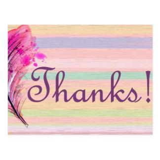 Cartões de agradecimentos bonito com pena cartão postal