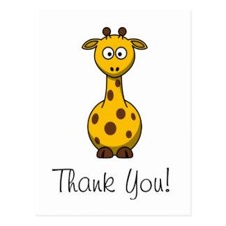 Cartões de agradecimentos bonitos do girafa dos cartão postal