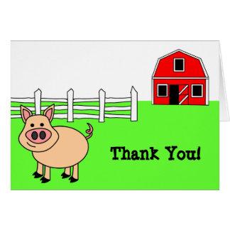 Cartões de agradecimentos bonitos do porco dos