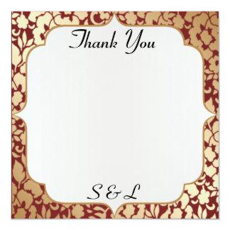 Cartões de agradecimentos carmesins dourados convite quadrado 13.35 x 13.35cm