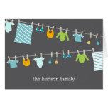 Cartões de agradecimentos chiques do bebê do Cloth