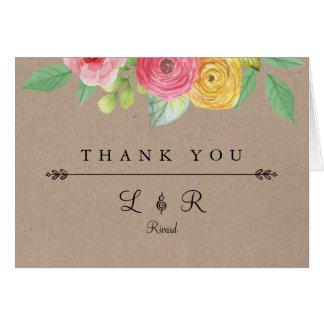 Cartões de agradecimentos chiques rústicos com
