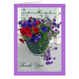 Cartões de agradecimentos com arranjo de flor,