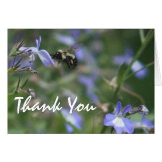 Cartões de agradecimentos com flores azuis