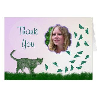 Cartões de agradecimentos com um gato e as