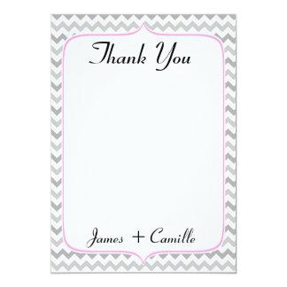 Cartões de agradecimentos cor-de-rosa & cinzentos convite 12.7 x 17.78cm