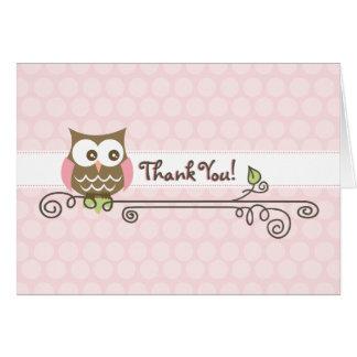 Cartões de agradecimentos cor-de-rosa da coruja