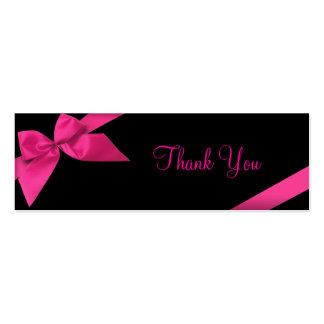 Cartões de agradecimentos cor-de-rosa da fita cartão de visita skinny