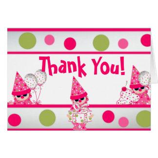 Cartões de agradecimentos cor-de-rosa das bolinhas