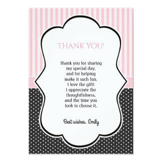 Cartões de agradecimentos cor-de-rosa das listras