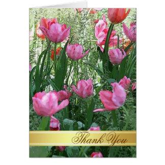 Cartões de agradecimentos cor-de-rosa das tulipas